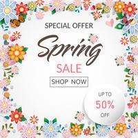 Bandera y fondo de la venta de flores del tiempo de primavera. Diseño vectorial ESP10.