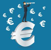 businessman looks through a telescope standing on Euro icon