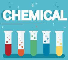 chemical text and colorful laboratory filled with a clear liquid and blue background