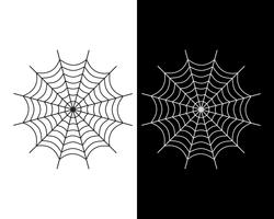 Spider web vector icon white and black color on white and black background - Vector illustration