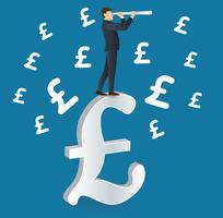 businessman looks through a telescope standing on Pound icon