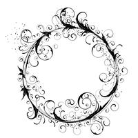 Flowers ornamental beautiful and circle design element silhouette in black.
