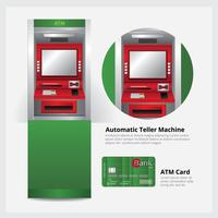 ATM Automatic Teller Machine with ATM Card Vector Illustration
