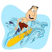 Happy guy playing on surfboard