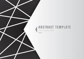 Template abstract white geometric shape polygons with lines composition on black background