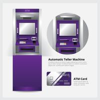 ATM Automatic Teller Machine with ATM Card Vector Illustration ?