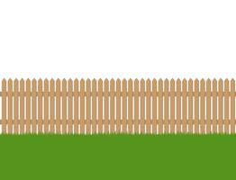 Seamless of wooden fence and green grass isolated on white background