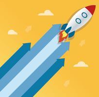 the rocket on arrow icon, start up concept illustration