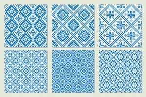 Ethnic nordic patterns set collection Vector illustration.