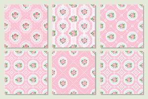 Set collection of shabby chic rose seamless pattern background