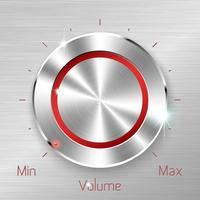 Botão de volume monocromático em fundo de folha metálica.