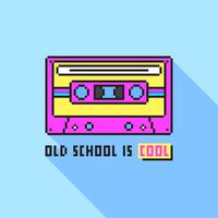 Arte del pixel de la cinta de casete audio de la escuela vieja
