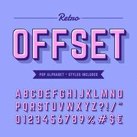 Alfabeto pop moderno retro offset