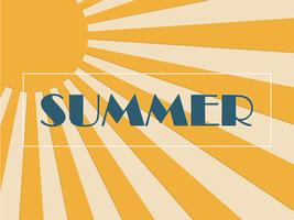 Concepto de fondo de verano con rayos de sol en estilo de arte pop y corte de papel.