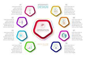 Pentágonos etiqueta infografía con 9 pasos.
