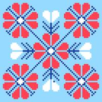 Folk Flowers Pixel Art Pattern