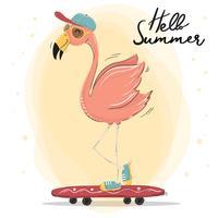 lindo flamenco rosado usar gorra y gafas de sol en monopatín, vector de caracteres en horario de verano