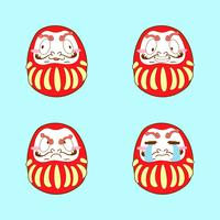japan schattige dakuma emoji vector set