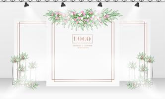 Wedding backdrop design template with white and rose gold color theme.