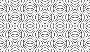Monochrome doodle art déco abstrait sans soudure avec la ligne de trait de cercles.