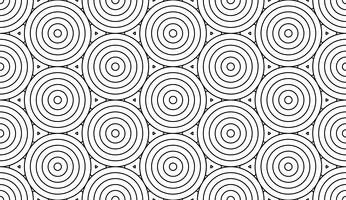 Fondo inconsútil del extracto monocromático del art déco del garabato con la línea del movimiento de los círculos.