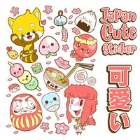 japan cute doodle sticker and background