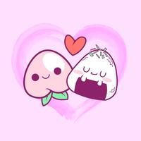 cute doodle peach and onigiri love background