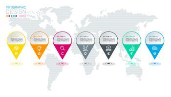 Sju cirklar med företagsikoninfographics på världskartan bakgrund.