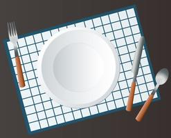 Empty Round Plate with Fork and Knife