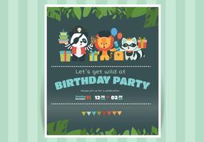 Invitation d'anniversaire mignon avec illustration vectorielle de caractère animal