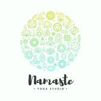 concetto di vettore di yoga logo simboli