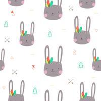 Schattig konijntje patroon naadloos. Vector illustratie.