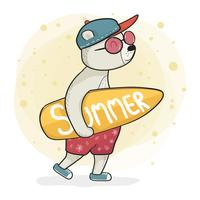 cool bear in sneaker hold surfaced, summer time flat graphic vector character design