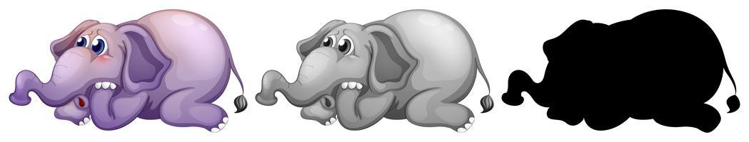 Conjunto de caracteres de elefante