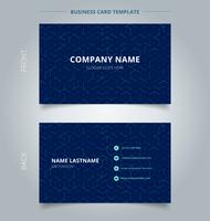 Business name card abstract cube pattern on dark blue background. Digital geometric lines square mesh.  Branding and identity graphic design. vector