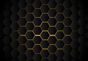 Modelo negro abstracto del hexágono en el estilo de neón amarillo de la tecnología del fondo. Panal.