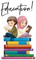 Onderwijs jongen en meisje lezen
