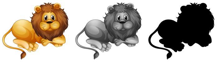 Set of male lion character vector