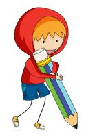 A doodle boy holding pencil