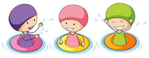 Doodle niños jugando en el agua
