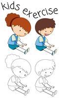 Doodle enfants exercent sur fond blanc