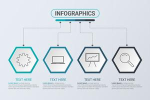 Infographics di quattro punti. Strategia del flusso di lavoro o lavoro di squadra. Modello di business esagono con opzioni per brochure, diagramma, flusso di lavoro, cronologia, web design