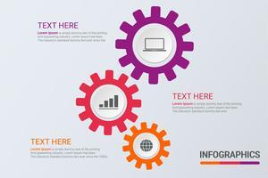 Infographics in tre fasi. Strategia del flusso di lavoro o lavoro di squadra. Modello di ingranaggi aziendali con opzioni per brochure, diagramma, flusso di lavoro, cronologia, web design