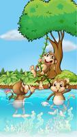 Three monkeys playing
