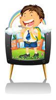 Niño en uniforme escolar en la televisión