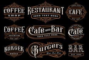 Set of vintage lettering illustration for the catering.