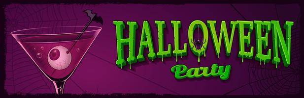 Halloween horizontal banner with illustration of cocktail with eyes inside.