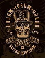 Illustration noir et blanc du crâne de steampunk vecteur