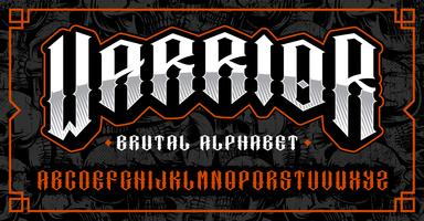 Warrior font, brutal typeface for themes such as biker, tattoo, rock and roll and many other.