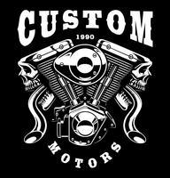 Monster-motor t-shirt design (på mörk bakgrund)
